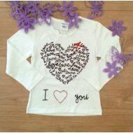 Fehér hosszú ujjú póló (I love you) 92-134
